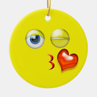 Yellow Kiss Emoji Custom Name Ceramic Ornament