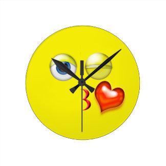 Yellow Kiss Emoji Round Clock
