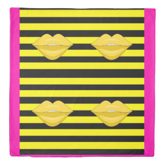 Yellow kiss lips black stripes duvet cover