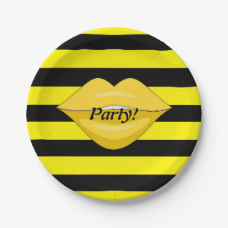 Yellow kiss lips black stripes party paper plates 7 inch paper plate