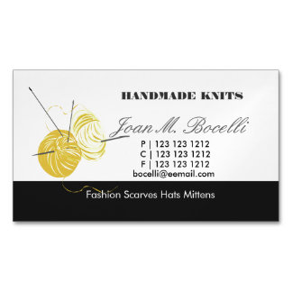 Yellow Knitting Crochet  Yarn Craft Artist Magnetic Business Card