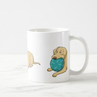 yellow lab cartoon with ball coffee mug