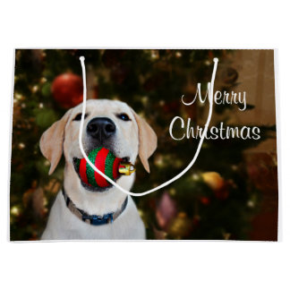 Yellow lab Christmas ball Large Gift Bag