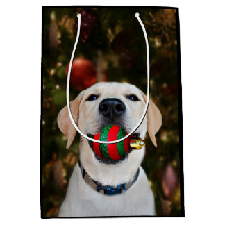 Yellow lab Christmas ball Medium Gift Bag
