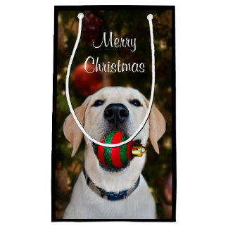 Yellow lab Christmas ball Small Gift Bag