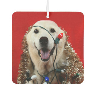 Yellow lab Christmas Car Air Freshener