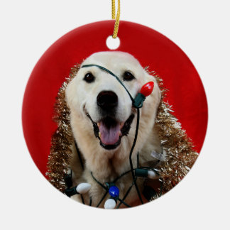 Yellow lab Christmas Ceramic Ornament