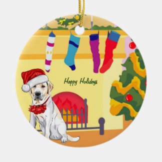 Yellow Lab Christmas (customizable) Ceramic Ornament