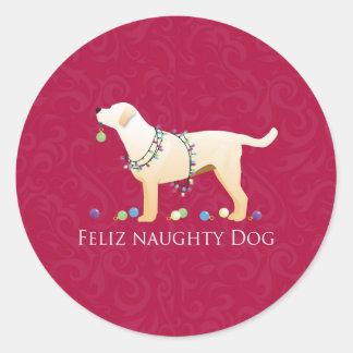Yellow Lab Christmas Feliz Naughty Dog Classic Round Sticker