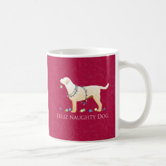 Yellow Lab Christmas Feliz Naughty Dog Coffee Mug