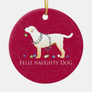 Yellow Lab Christmas Feliz Naughty Dog Round Ceramic Ornament
