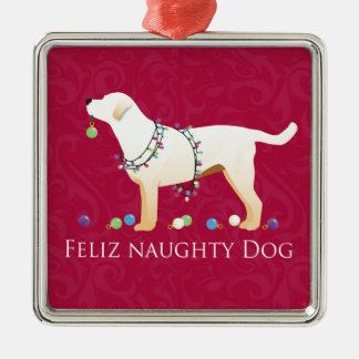 Yellow Lab Christmas Feliz Naughty Dog Silver-Colored Square Ornament
