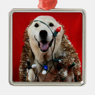 Yellow lab Christmas Metal Ornament