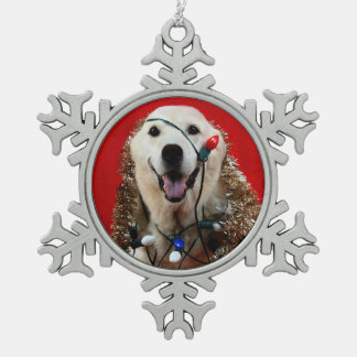 Yellow lab Christmas Snowflake Pewter Christmas Ornament