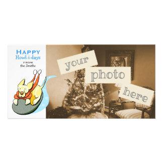 Yellow Lab Cute Dog Sled Christmas Cartoon Photo Card