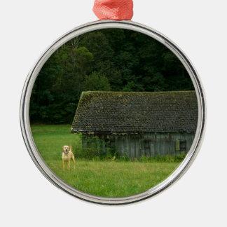 Yellow Lab Farmer Silver-Colored Round Ornament