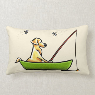 Yellow Lab Fishing Lumbar Pillow