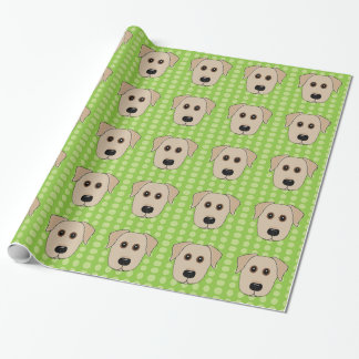 Yellow Lab Green Polka Dots Wrapping Paper