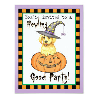"Yellow Lab Halloween 4.25"" X 5.5"" Invitation Card"