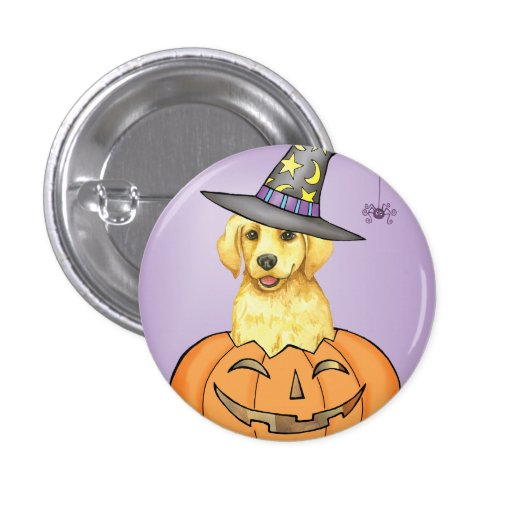Yellow Lab Halloween Pinback Button