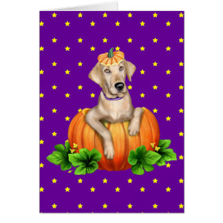 Yellow Lab Halloween Labr-O-Lantern Greeting Card