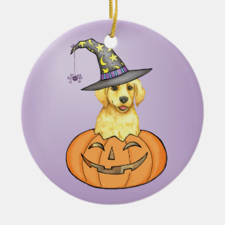 Yellow Lab Halloween Double-Sided Ceramic Round Christmas Ornament