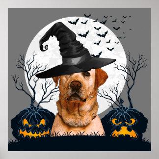 Yellow Lab Halloween Pumpkin Patch Poster