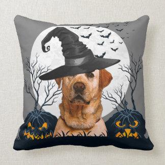 Yellow Lab Halloween Pumpkin Patch Throw Pillow