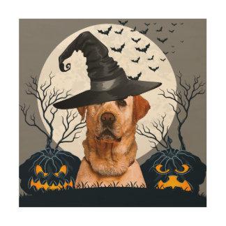 Yellow Lab Halloween Pumpkin Patch Wood Print