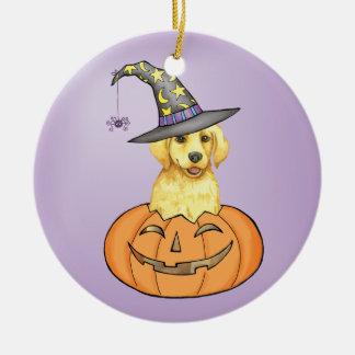 Yellow Lab Halloween Round Ceramic Ornament