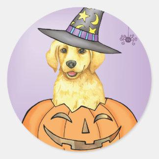 Yellow Lab Halloween Round Sticker