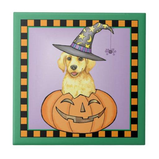 Yellow Lab Halloween Tile