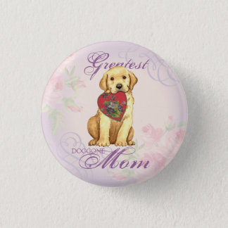 Yellow Lab Heart Mom 1 Inch Round Button