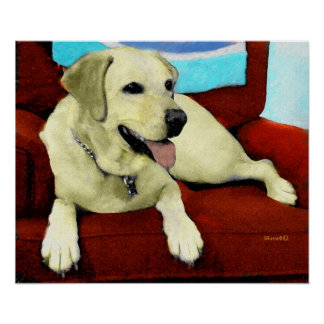 YELLOW LAB IN CHAIR POSTER