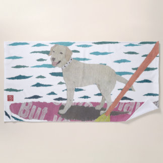Yellow Lab, Labrador Retriever, Modern Beach Towel