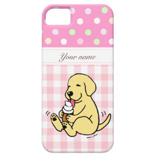 Yellow Lab Licking Ice Cream Cartoon iPhone 5 Cover