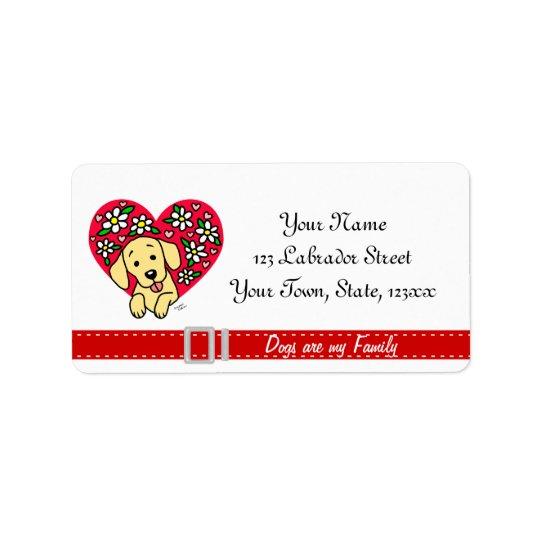 Yellow Lab Mom Cartoon Floral Heart Label