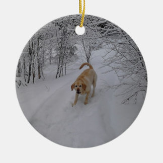 Yellow Lab Playing in Fresh Winter Snow Round Ceramic Ornament