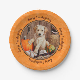 Yellow Lab Pup and Pumpkin Harvest Orange 7 Inch Paper Plate