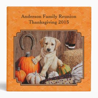 Yellow Lab Pup and Pumpkin Harvest Orange Binder