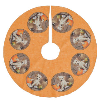 Yellow Lab Pup and Pumpkin Harvest Orange Brushed Polyester Tree Skirt