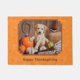 Yellow Lab Pup and Pumpkin Harvest Orange Doormat