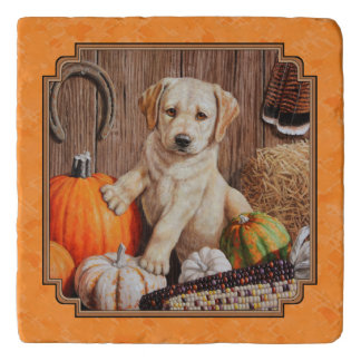 Yellow Lab Pup and Pumpkin Harvest Orange Trivet