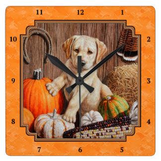 Yellow Lab Pup and Pumpkin Harvest Orange Wallclock