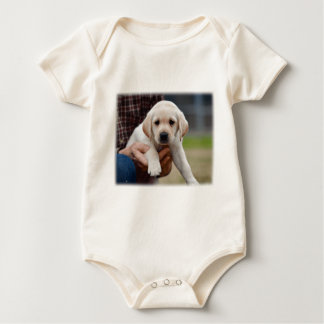 Yellow Lab Puppy Being Held By a Friend Baby Bodysuit