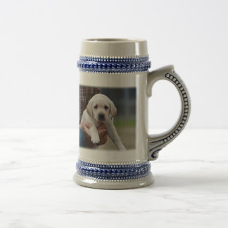 Yellow Lab Puppy Being Held By a Friend Beer Stein