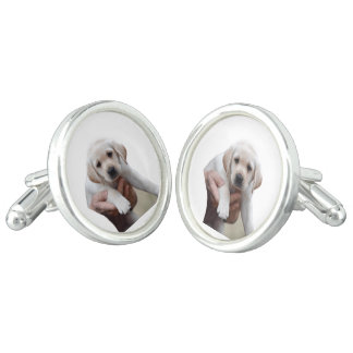 Yellow Lab Puppy Being Held By a Friend Cufflinks