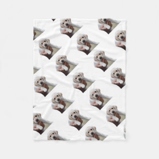 Yellow Lab Puppy Being Held By a Friend Fleece Blanket