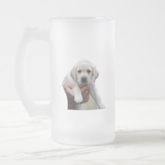 Yellow Lab Puppy Being Held By a Friend Frosted Glass Beer Mug