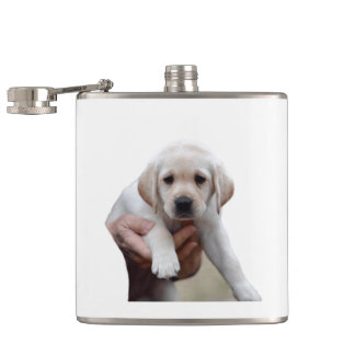 Yellow Lab Puppy Being Held By a Friend Hip Flask
